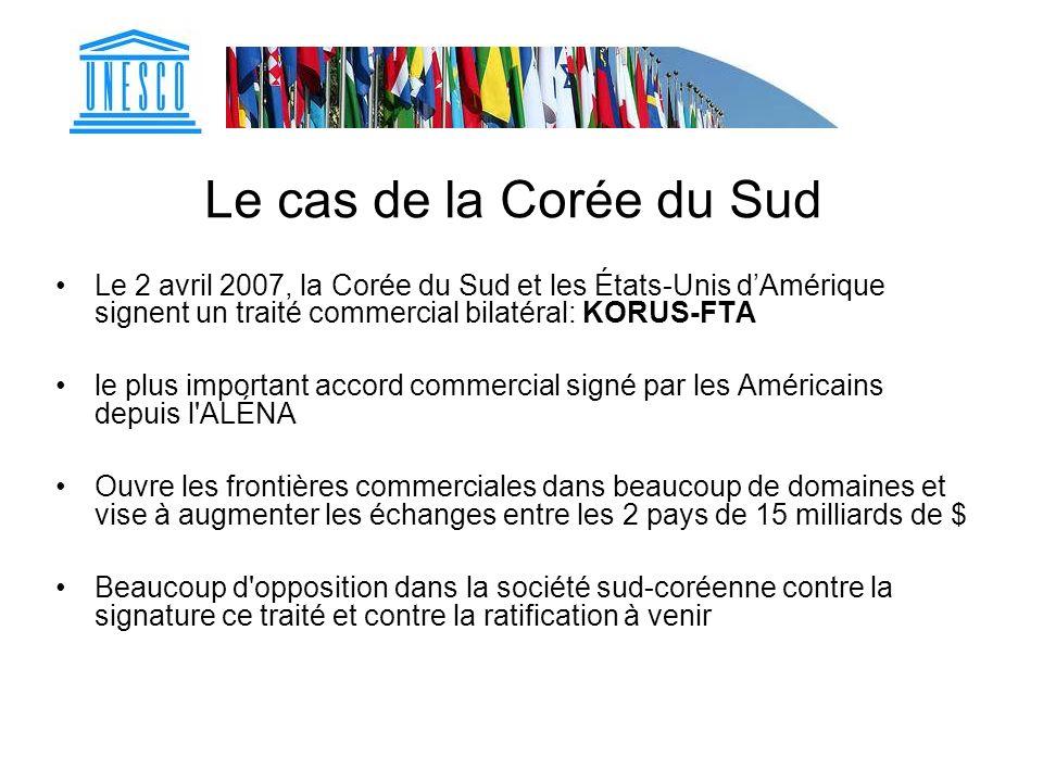 Le cas de la Corée du Sud Le 2 avril 2007, la Corée du Sud et les États-Unis dAmérique signent un traité commercial bilatéral: KORUS-FTA le plus impor
