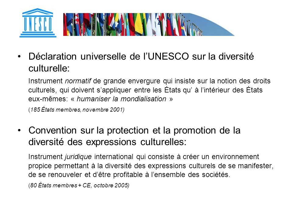 Déclaration universelle de lUNESCO sur la diversité culturelle: Instrument normatif de grande envergure qui insiste sur la notion des droits culturels