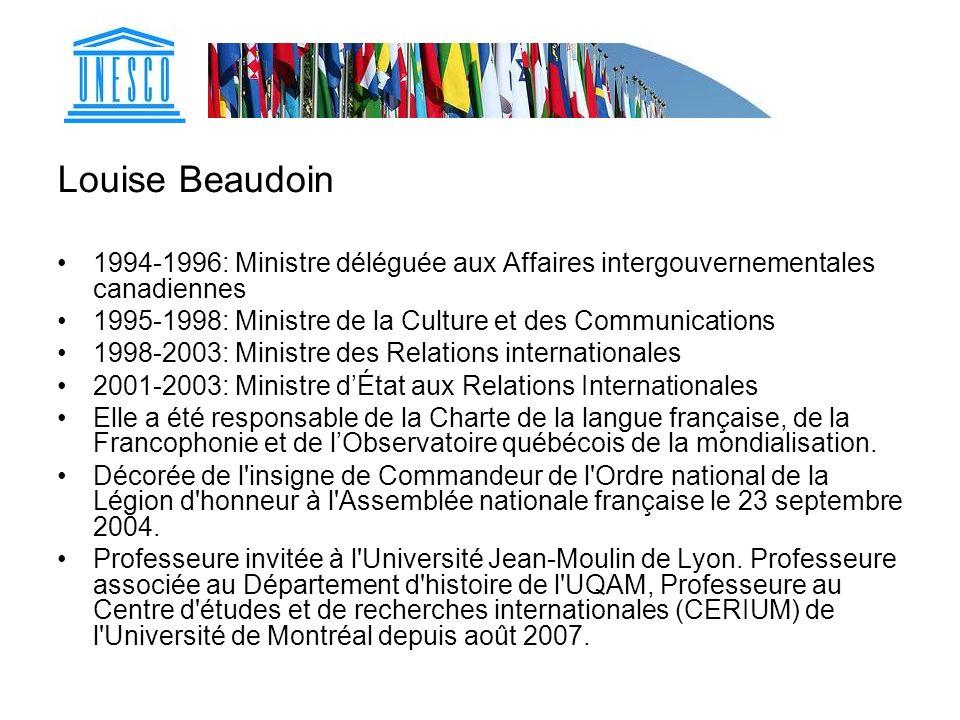 Louise Beaudoin 1994-1996: Ministre déléguée aux Affaires intergouvernementales canadiennes 1995-1998: Ministre de la Culture et des Communications 19