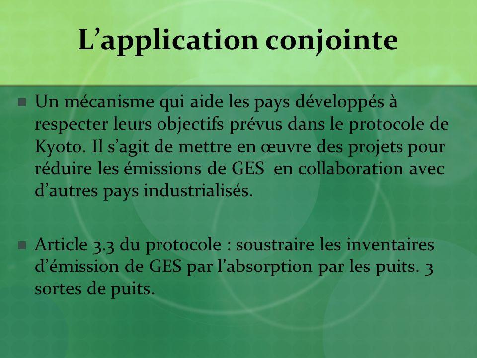 Lapplication conjointe Un mécanisme qui aide les pays développés à respecter leurs objectifs prévus dans le protocole de Kyoto.