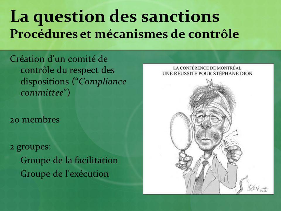 La question des sanctions Procédures et mécanismes de contrôle Création dun comité de contrôle du respect des dispositions (Compliance committee) 20 membres 2 groupes: Groupe de la facilitation Groupe de lexécution
