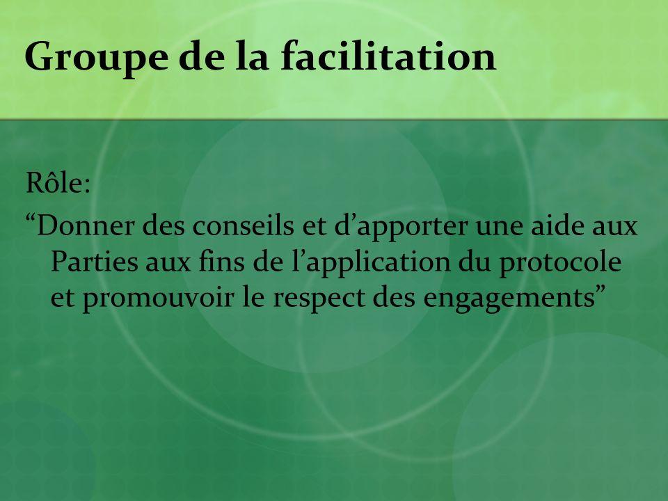 Groupe de la facilitation Rôle: Donner des conseils et dapporter une aide aux Parties aux fins de lapplication du protocole et promouvoir le respect des engagements