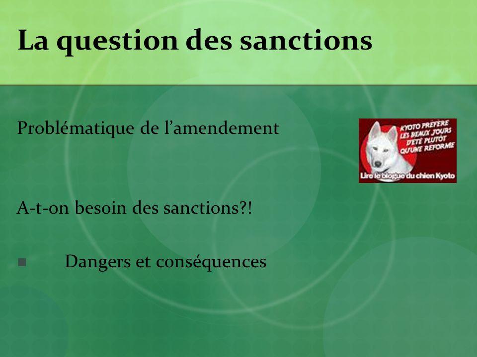 La question des sanctions Problématique de lamendement A-t-on besoin des sanctions?.