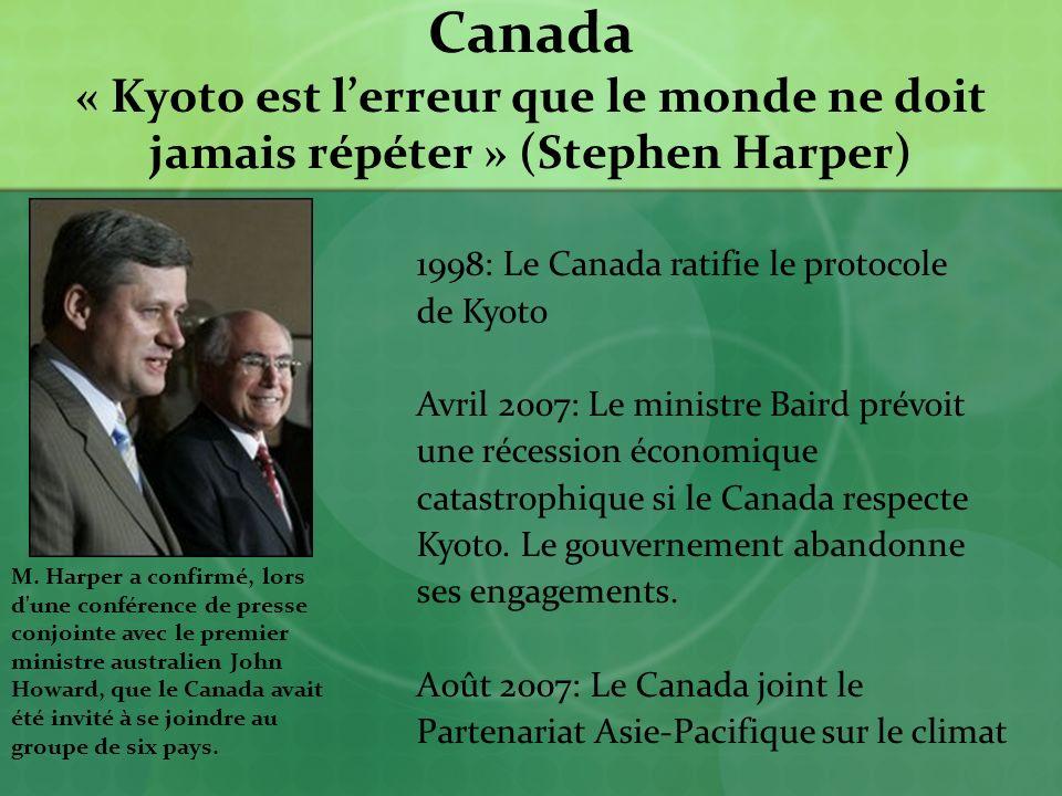 Canada « Kyoto est lerreur que le monde ne doit jamais répéter » (Stephen Harper) M.