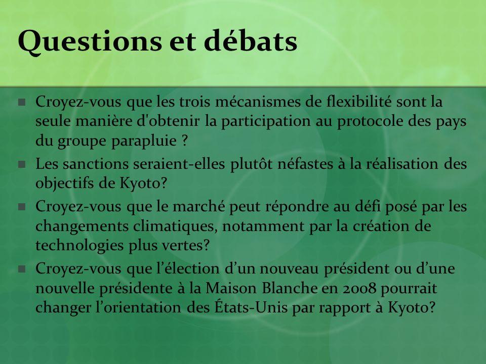 Questions et débats Croyez-vous que les trois mécanismes de flexibilité sont la seule manière d obtenir la participation au protocole des pays du groupe parapluie .