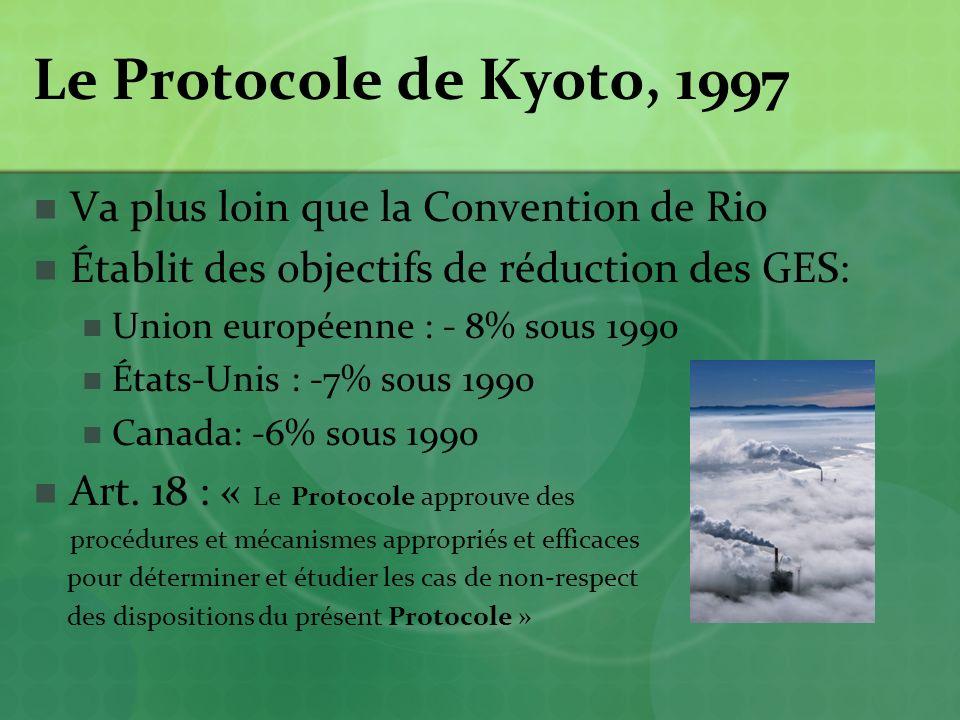 Le Protocole de Kyoto, 1997 Va plus loin que la Convention de Rio Établit des objectifs de réduction des GES: Union européenne : - 8% sous 1990 États-Unis : -7% sous 1990 Canada: -6% sous 1990 Art.