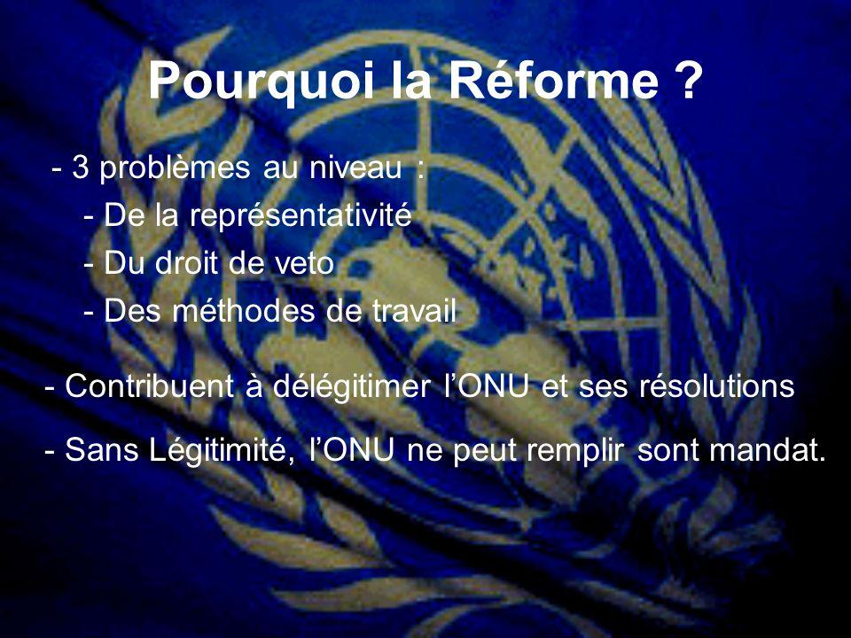 Pourquoi la Réforme ? - 3 problèmes au niveau : - De la représentativité - Du droit de veto - Des méthodes de travail - Contribuent à délégitimer lONU