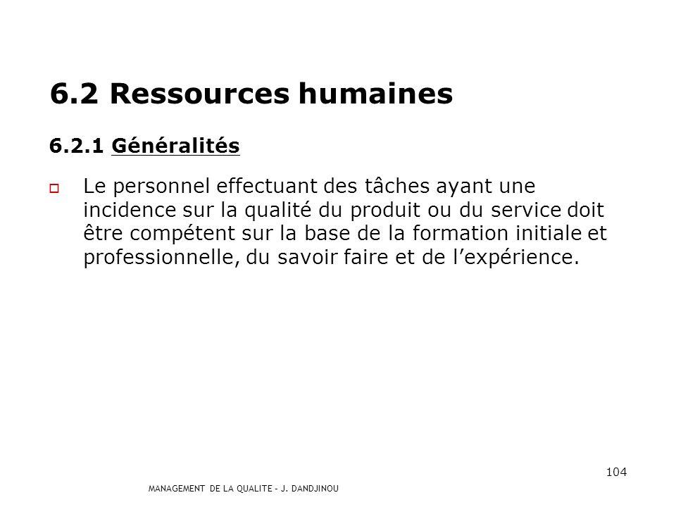 MANAGEMENT DE LA QUALITE – J. DANDJINOU 103 6.1 Mise à disposition des ressources Lorganisme doit déterminer et fournir les ressources nécessaires pou