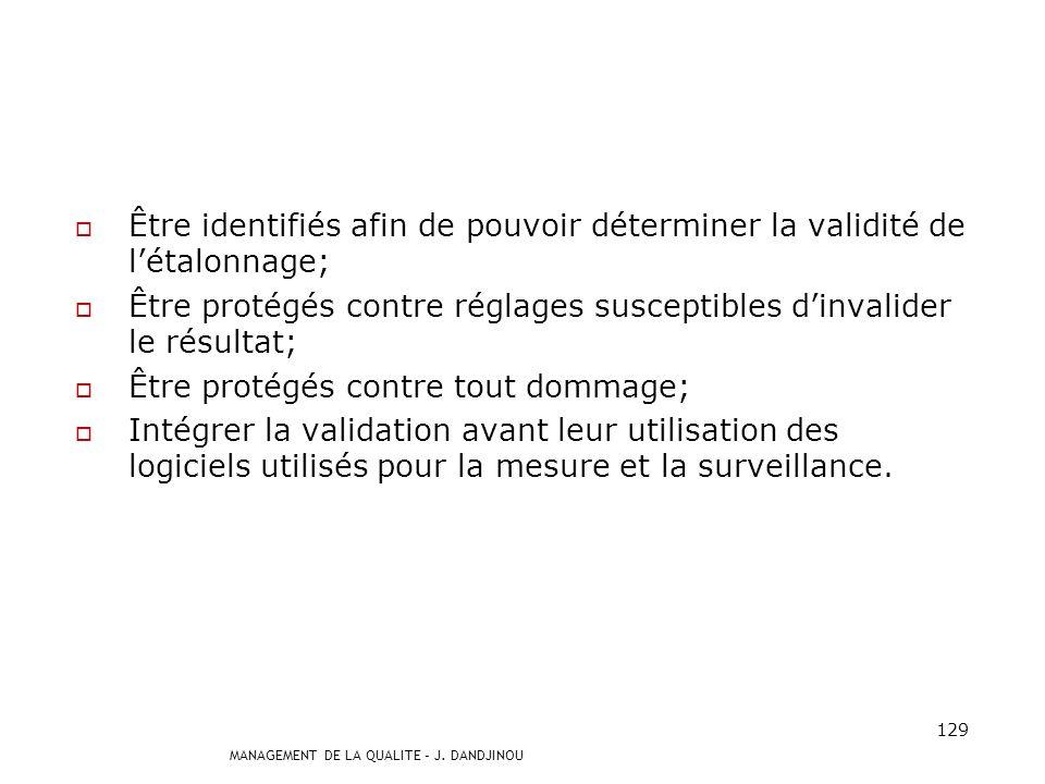 MANAGEMENT DE LA QUALITE – J. DANDJINOU 128 7.6 Maîtrise des dispositifs de surveillance et de mesures Les équipement de mesure doivent : Apporter la