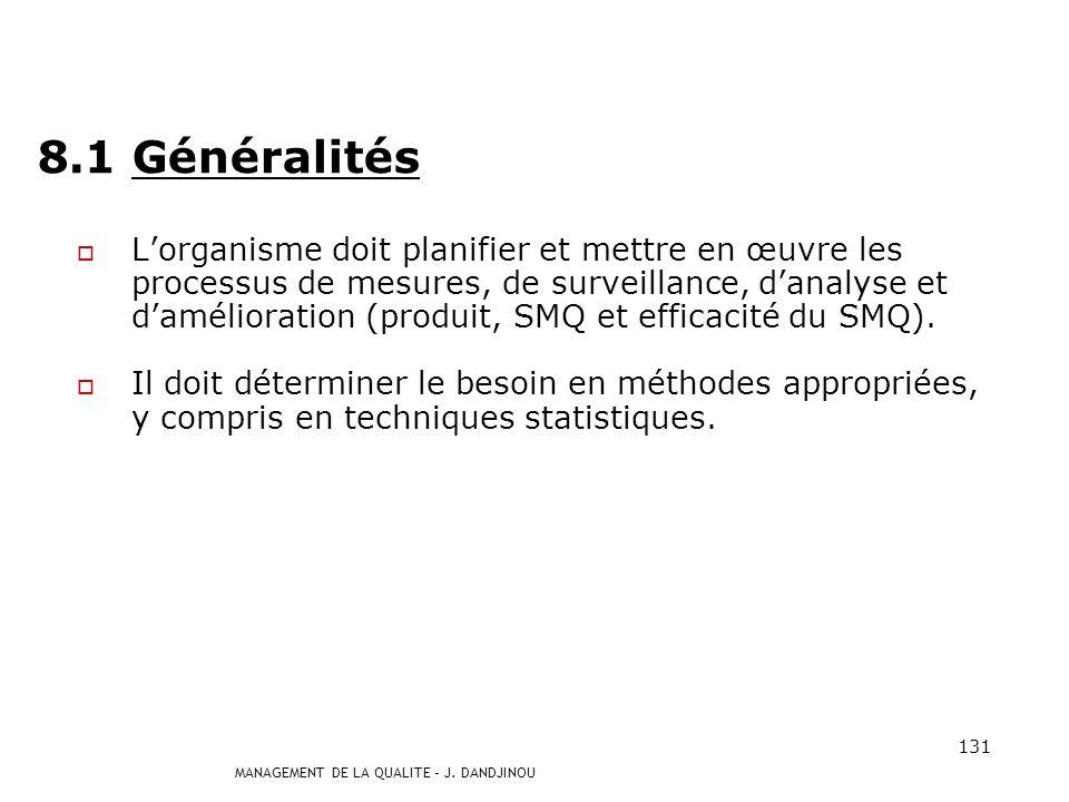 MANAGEMENT DE LA QUALITE – J. DANDJINOU 130 Chapitre 8 MESURES, ANALYSE ET AMELIORATION