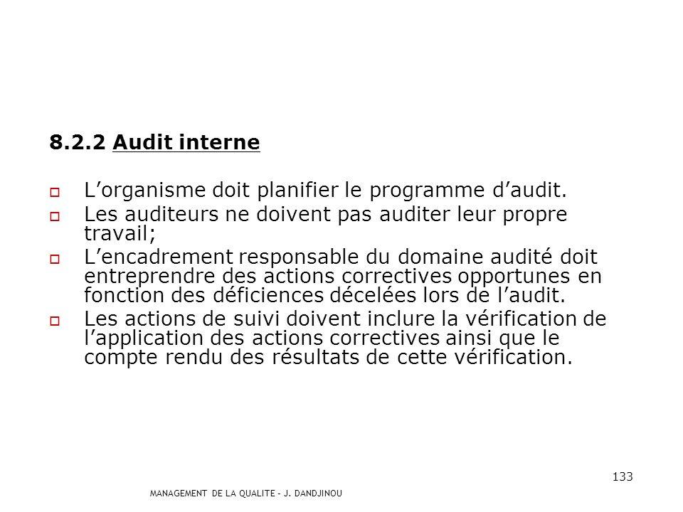 MANAGEMENT DE LA QUALITE – J. DANDJINOU 132 8.2 Surveillance et mesures 8.2.1 Satisfaction du client Lorganisme doit surveiller les informations relat