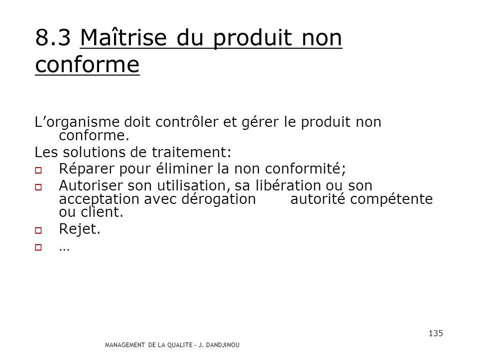 MANAGEMENT DE LA QUALITE – J. DANDJINOU 134 8.2.3 Surveillance et mesure des processus Lorganisme doit utiliser des méthodes appropriées pour la surve