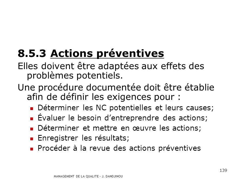 MANAGEMENT DE LA QUALITE – J. DANDJINOU 138 8.5.2 Actions correctives Lorganisme doit mener des actions correctives pour éliminer les causes de non-co