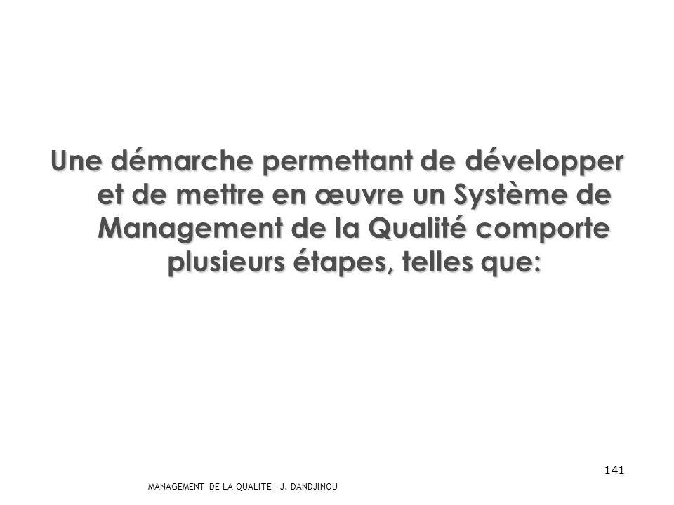 MANAGEMENT DE LA QUALITE – J. DANDJINOU 140 Démarche Système de Management de la qualité Il ny a pas de vent favorable pour celui qui ne connaît pas s