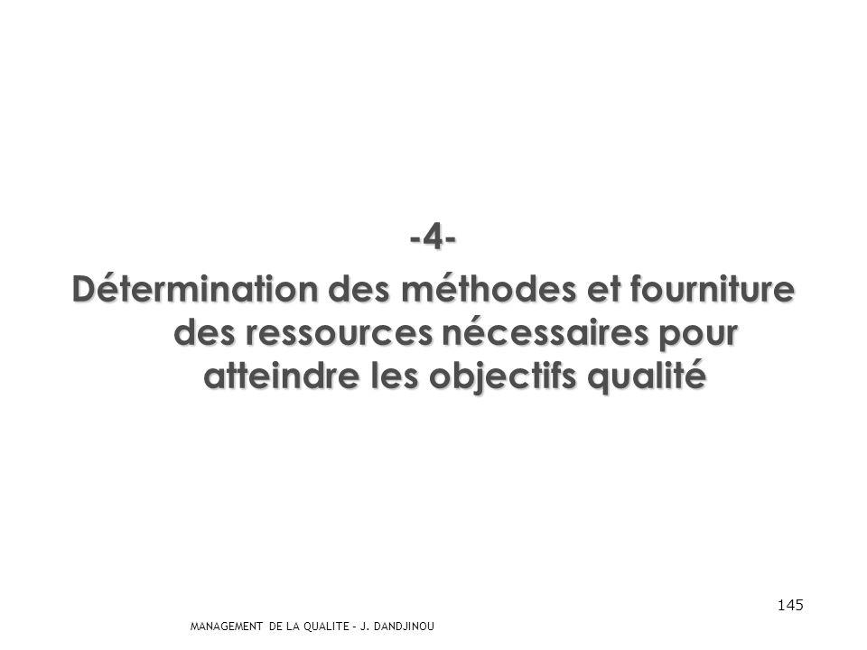 MANAGEMENT DE LA QUALITE – J. DANDJINOU 144 -3- Détermination des processus et responsabilités nécessaires pour atteindre les objectifs qualité