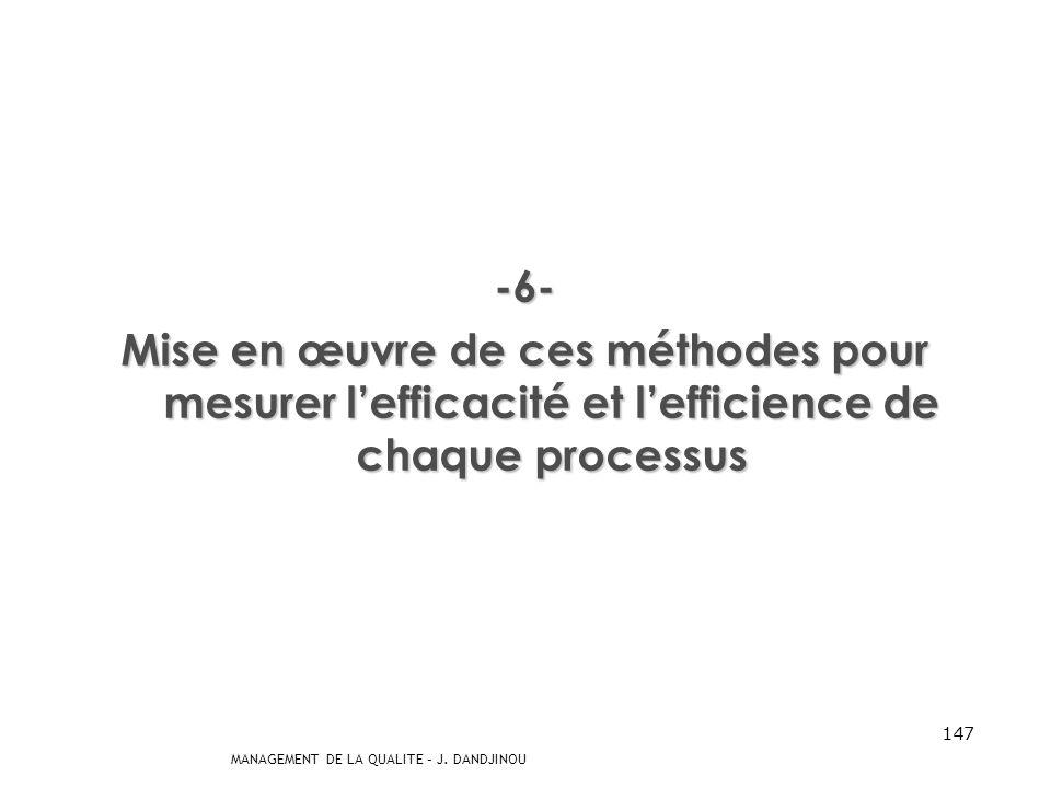 MANAGEMENT DE LA QUALITE – J. DANDJINOU 146 -5- Définition des méthodes permettant de mesurer lefficacité et lefficience de chaque processus