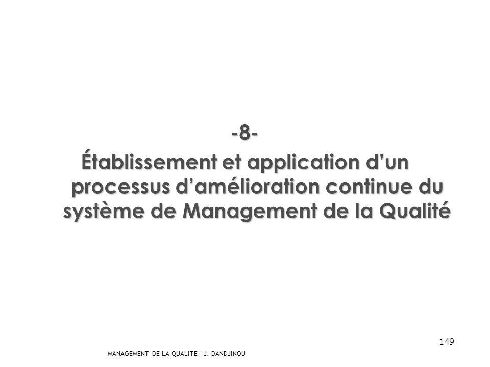 MANAGEMENT DE LA QUALITE – J. DANDJINOU 148 -7- Détermination des moyens permettant dempêcher les non-conformités et den éliminer les causes