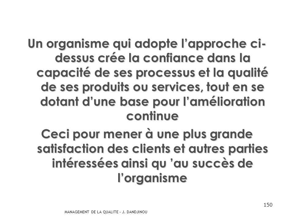 MANAGEMENT DE LA QUALITE – J. DANDJINOU 149 -8- Établissement et application dun processus damélioration continue du système de Management de la Quali