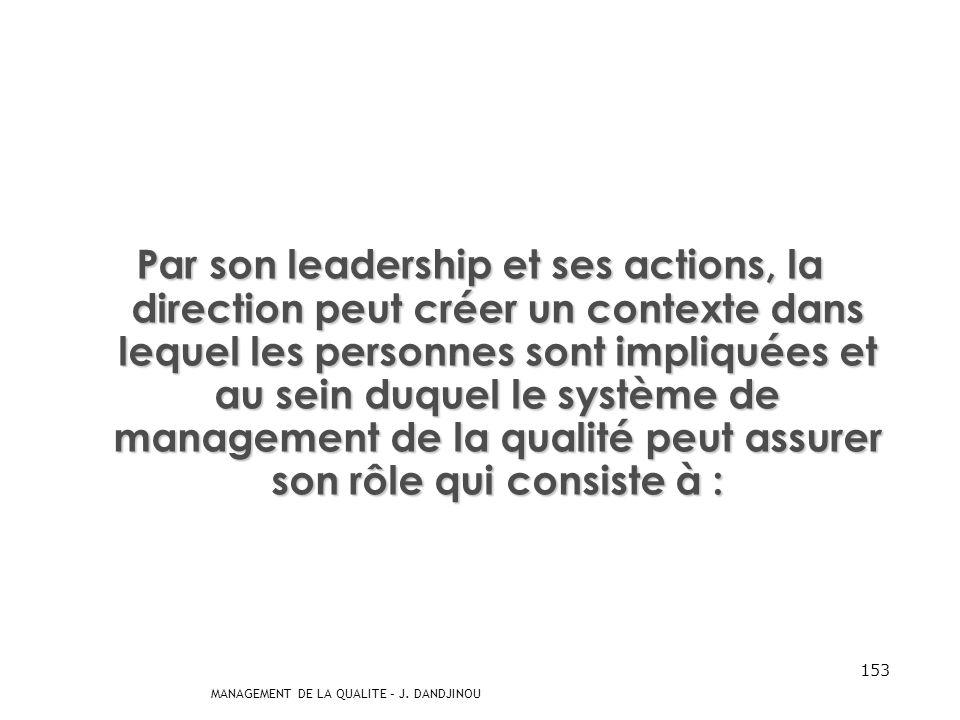 MANAGEMENT DE LA QUALITE – J. DANDJINOU 152 Rôle de la Direction au sein du Système de Management de la Qualité « …conduisez-vous envers les hommes co
