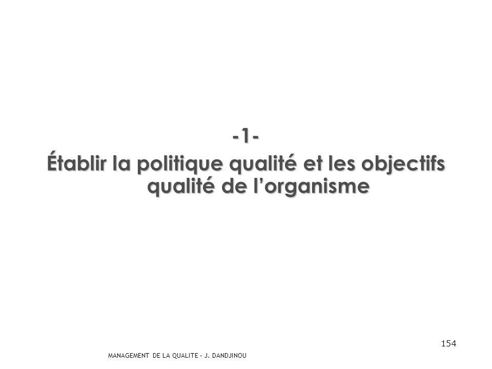 MANAGEMENT DE LA QUALITE – J. DANDJINOU 153 Par son leadership et ses actions, la direction peut créer un contexte dans lequel les personnes sont impl