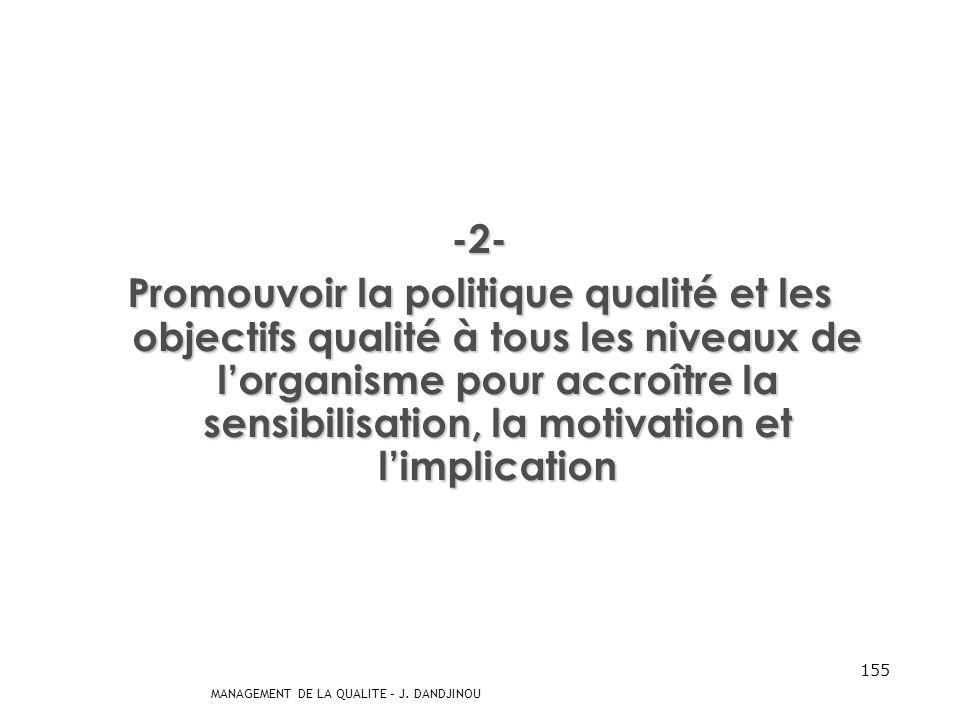 MANAGEMENT DE LA QUALITE – J. DANDJINOU 154 -1- Établir la politique qualité et les objectifs qualité de lorganisme