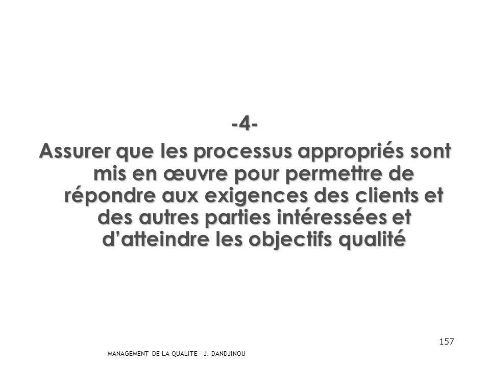 MANAGEMENT DE LA QUALITE – J. DANDJINOU 156 -3- Sassurer que les exigences des clients représentent une priorité à tous les niveaux de lorganisme