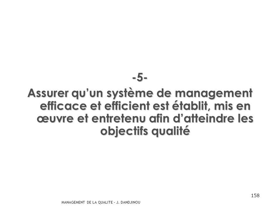 MANAGEMENT DE LA QUALITE – J. DANDJINOU 157 -4- Assurer que les processus appropriés sont mis en œuvre pour permettre de répondre aux exigences des cl