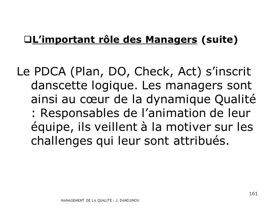 MANAGEMENT DE LA QUALITE – J. DANDJINOU 160 LENGAGEMENT DES MANAGERS Limportant rôle des Managers Comme le dit Peter DRUCKER, Spécialiste du Managemen