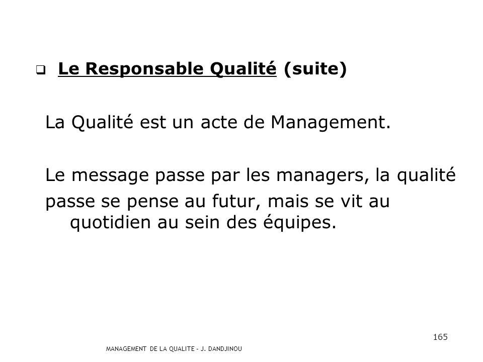 MANAGEMENT DE LA QUALITE – J. DANDJINOU 164 Le Responsable Qualité Le Responsable Qualité aura beau communiquer, expliquer, rien ne remplacera auprès