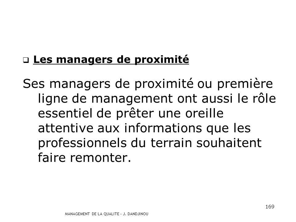 MANAGEMENT DE LA QUALITE – J. DANDJINOU 168 La hiérarchie (suite et fin) Aussi, elle affirme que : - les objectifs qualité sont des objectifs déquipe