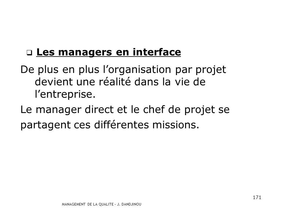 MANAGEMENT DE LA QUALITE – J. DANDJINOU 170 Les managers de proximité (suite et fin) Ils constituent un maillon clé dans le processus de communication