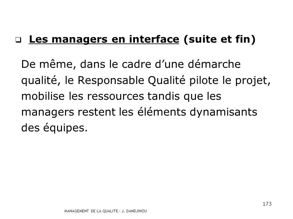 MANAGEMENT DE LA QUALITE – J. DANDJINOU 172 Les managers en interface (suite) Au manager, revient le soin de garantir le maintien en compétence du col