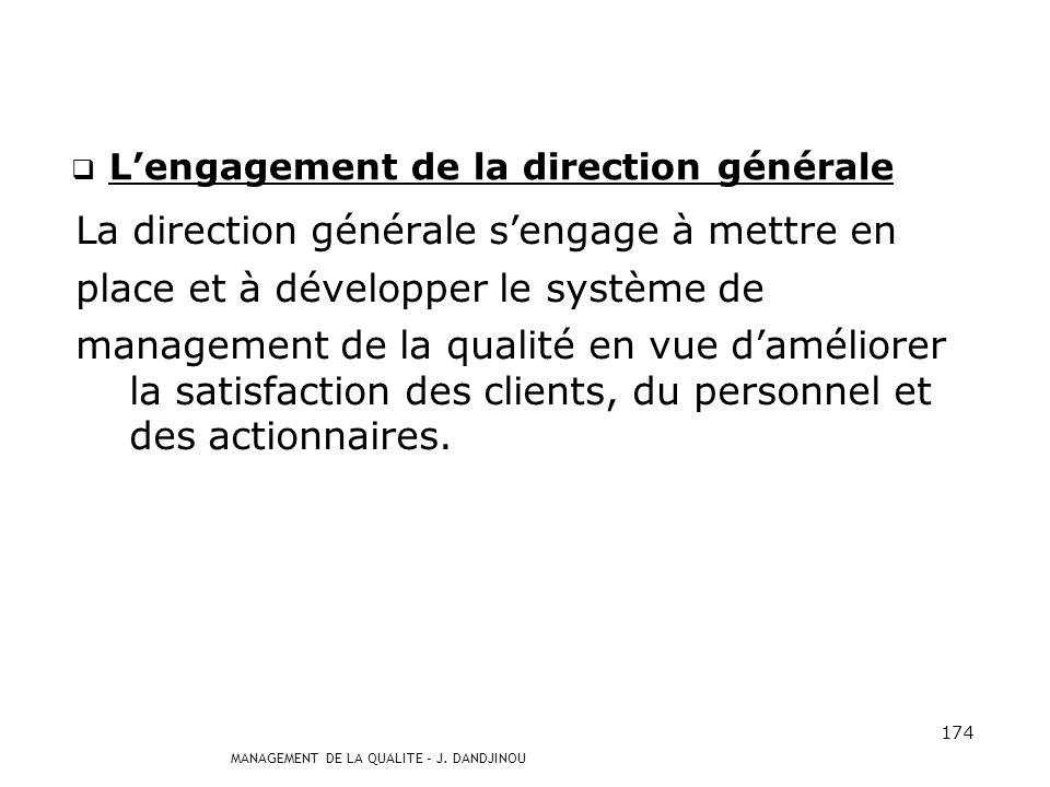 MANAGEMENT DE LA QUALITE – J. DANDJINOU 173 Les managers en interface (suite et fin) De même, dans le cadre dune démarche qualité, le Responsable Qual