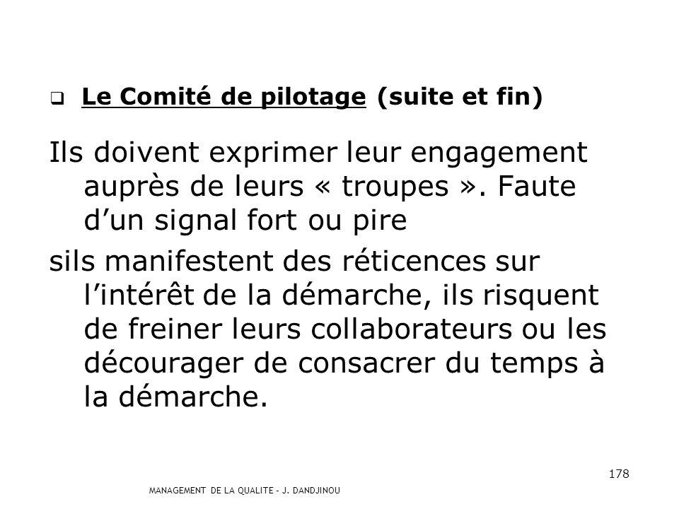 MANAGEMENT DE LA QUALITE – J. DANDJINOU 177 Le Comité de pilotage (suite) Les managers doivent assumer la qualité : - en tenant des points qualité cou