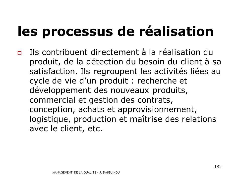 MANAGEMENT DE LA QUALITE – J. DANDJINOU 184 3 types de processus a un impact direct sur la satisfaction du client.a un impact direct sur la satisfacti
