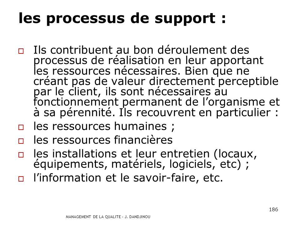 MANAGEMENT DE LA QUALITE – J. DANDJINOU 185 les processus de réalisation Ils contribuent directement à la réalisation du produit, de la détection du b