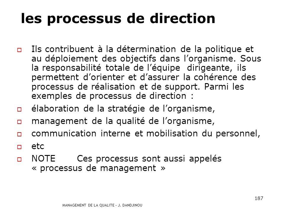 MANAGEMENT DE LA QUALITE – J. DANDJINOU 186 les processus de support : Ils contribuent au bon déroulement des processus de réalisation en leur apporta