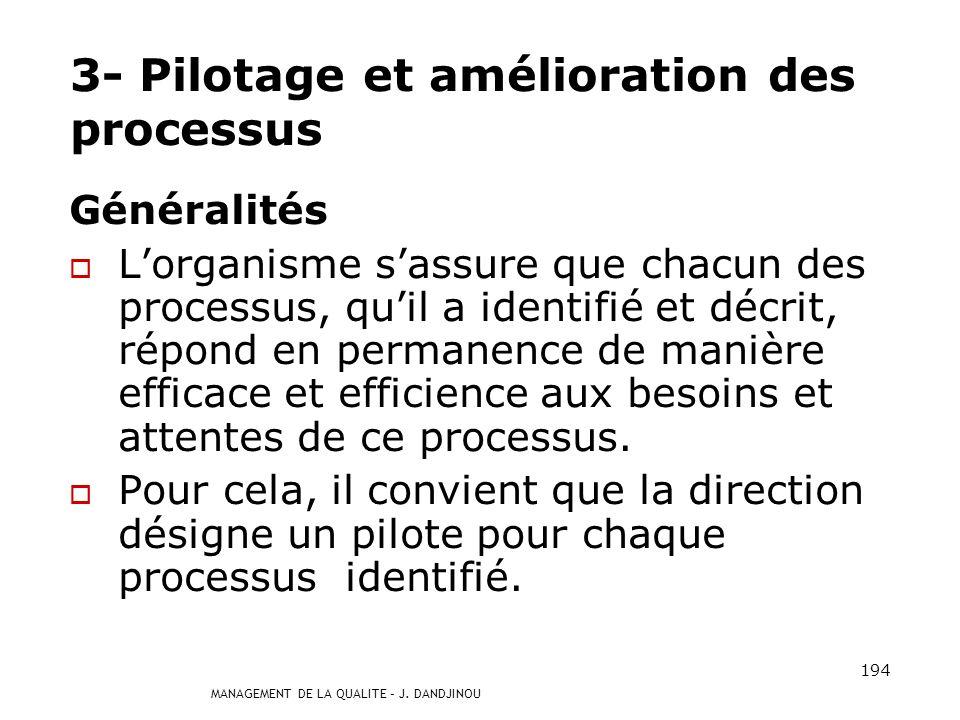 MANAGEMENT DE LA QUALITE – J. DANDJINOU 193 2.3 Représentation dun processus Différents modes de représentation dun processus peuvent être utilisés, a