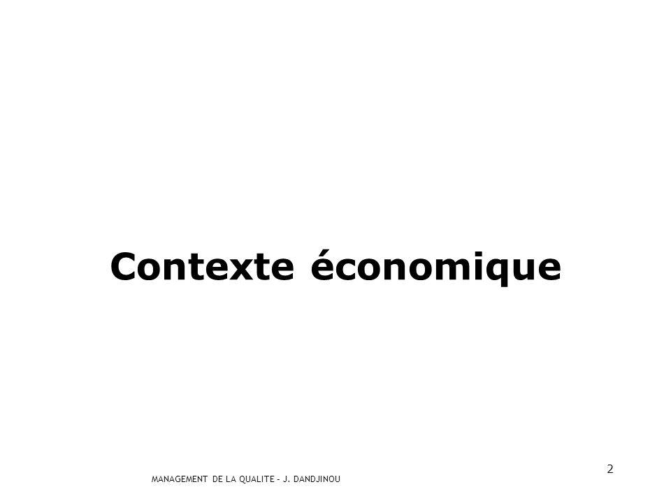 MANAGEMENT DE LA QUALITE – J. DANDJINOU 2 Contexte économique