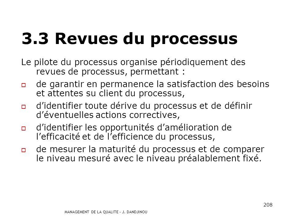 MANAGEMENT DE LA QUALITE – J. DANDJINOU 207 Il sassure de ladaptation du processus aux évolutions de son environnement, en tenant compte : des évoluti