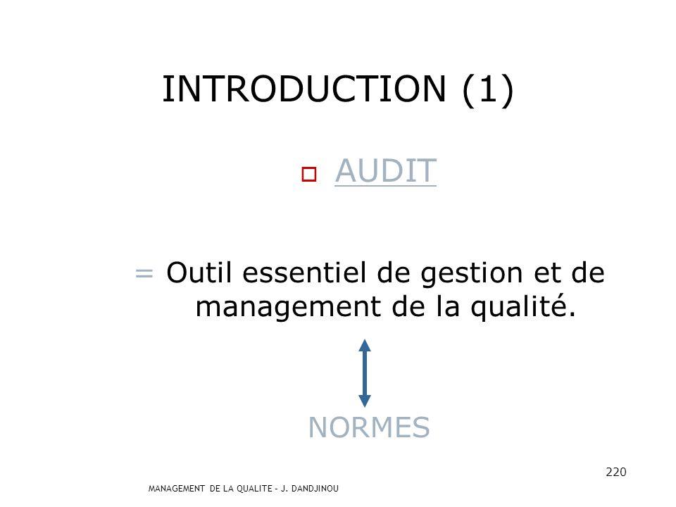 MANAGEMENT DE LA QUALITE – J. DANDJINOU 219 PLAN INTRODUCTION I. DEFINITIONS II. ACTEURS – RESPONSABILITES III. METHODOLOGIE DE LAUDIT IV. COMPETENCE