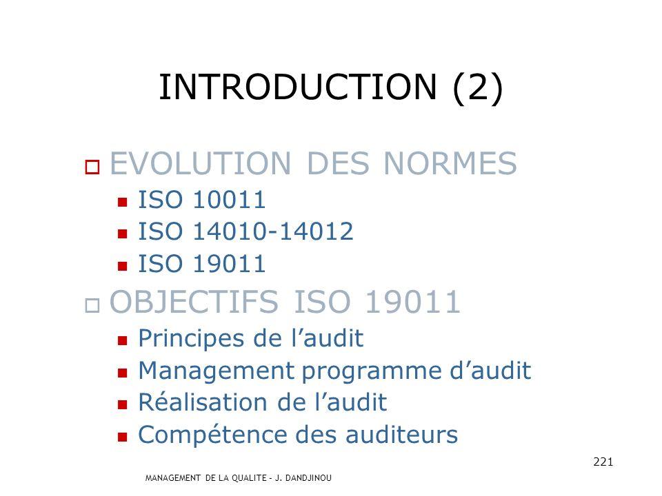 MANAGEMENT DE LA QUALITE – J. DANDJINOU 220 INTRODUCTION (1) AUDIT = Outil essentiel de gestion et de management de la qualité. NORMES