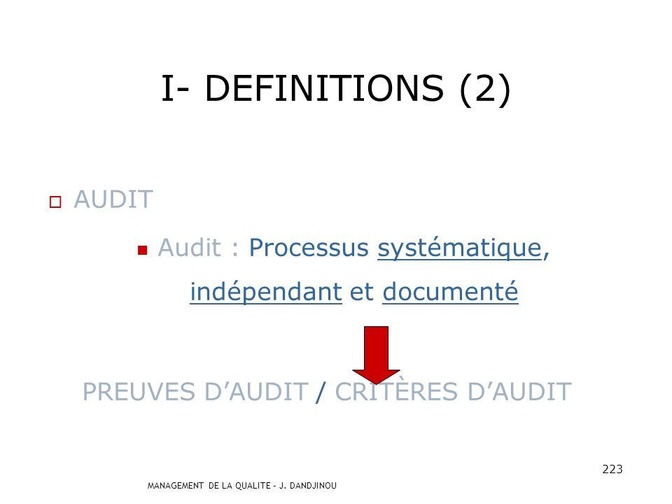 MANAGEMENT DE LA QUALITE – J. DANDJINOU 222 I- DEFINITIONS (1) QUALITE Qualité Contrôle de qualité Assurance qualité Management de la qualité Manageme