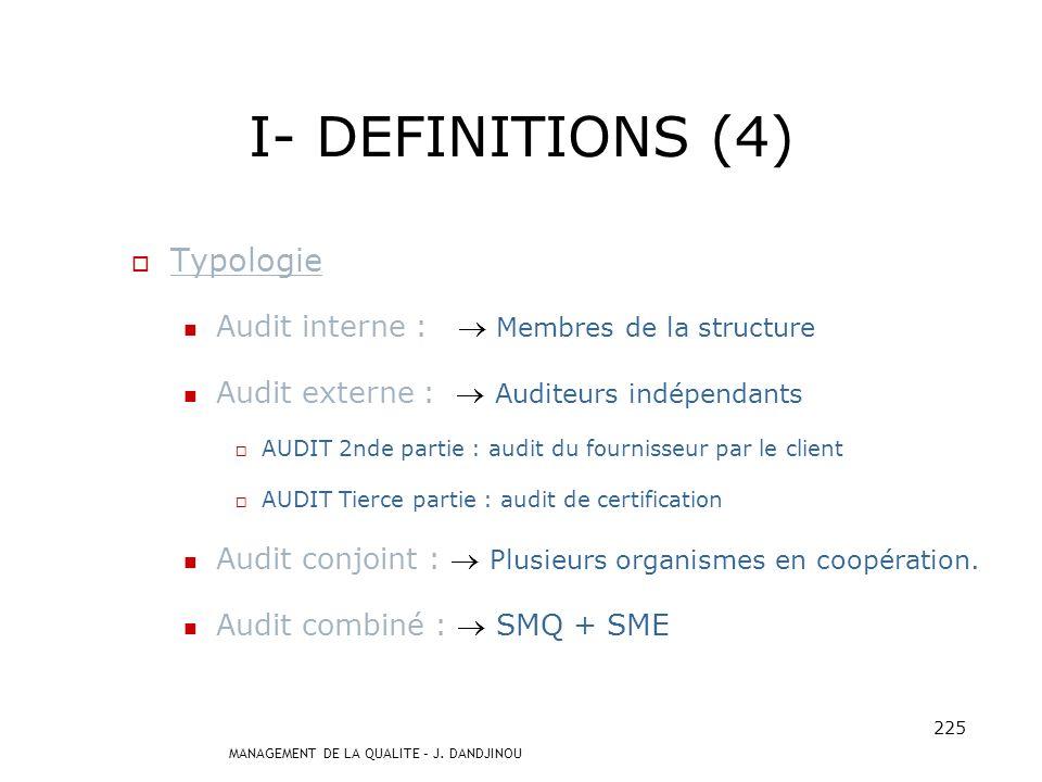 MANAGEMENT DE LA QUALITE – J. DANDJINOU 224 I- DEFINITIONS (3) AUDIT Constat daudit : Résultat évaluation preuves daudit. Conclusion daudit : Résultat