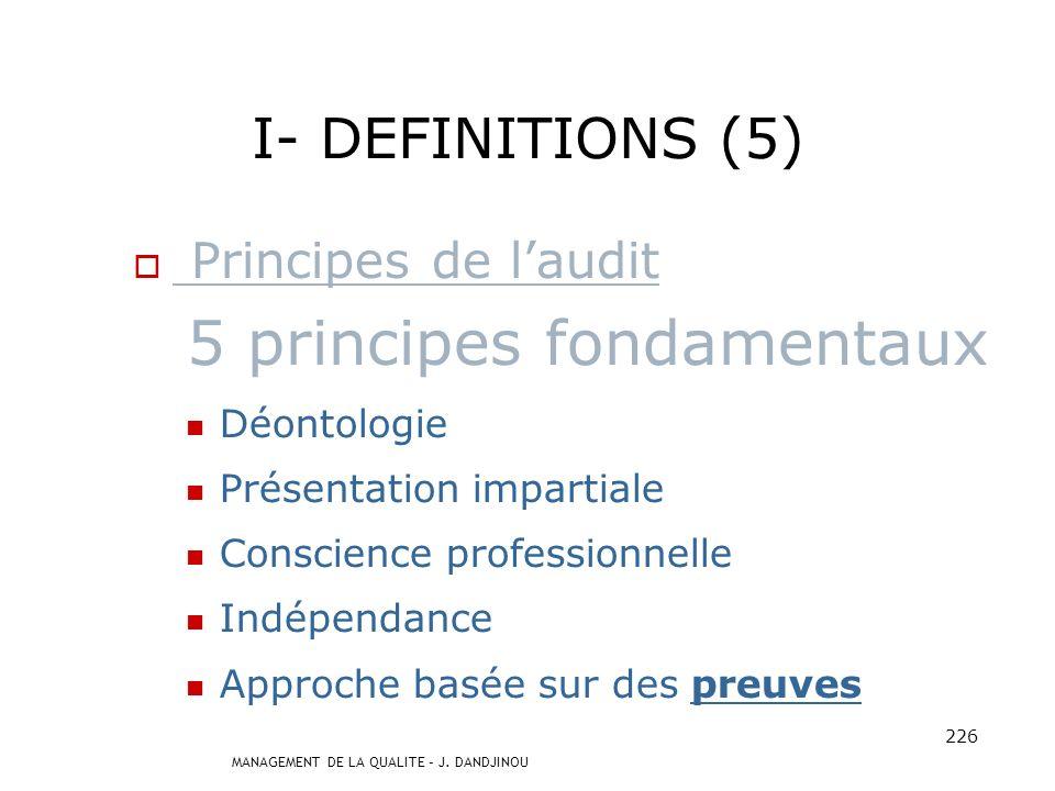 MANAGEMENT DE LA QUALITE – J. DANDJINOU 225 I- DEFINITIONS (4) Typologie Audit interne : Membres de la structure Audit externe : Auditeurs indépendant