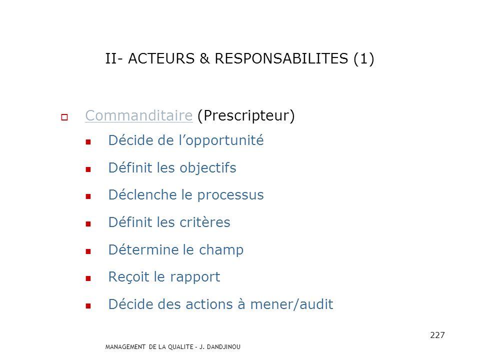 MANAGEMENT DE LA QUALITE – J. DANDJINOU 226 I- DEFINITIONS (5) Principes de laudit 5 principes fondamentaux Déontologie Présentation impartiale Consci