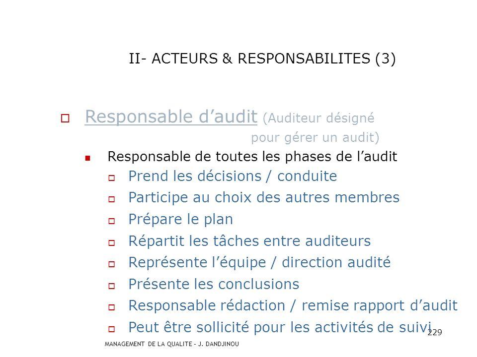 MANAGEMENT DE LA QUALITE – J. DANDJINOU 228 II- ACTEURS & RESPONSABILITES (2) Auditeur (Personne possédant la compétence nécessaire) Prépare laudit Re