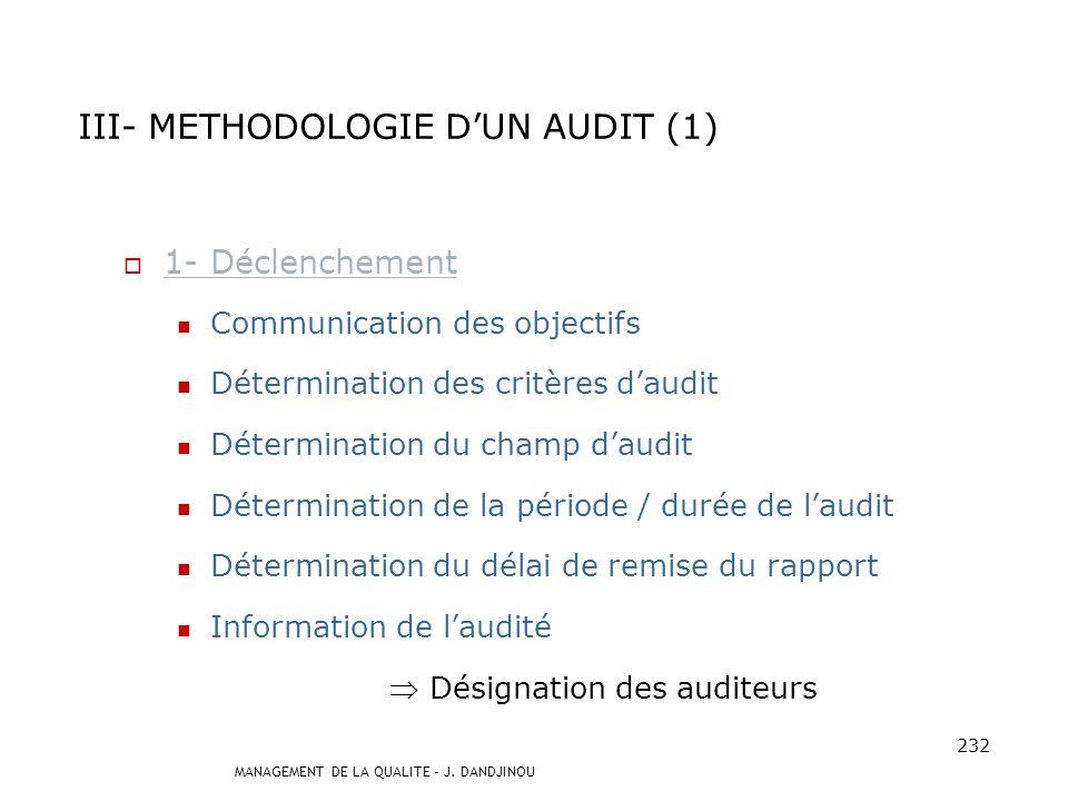 MANAGEMENT DE LA QUALITE – J. DANDJINOU 231 III- METHODOLOGIE DUN AUDIT 1 Déclenchement