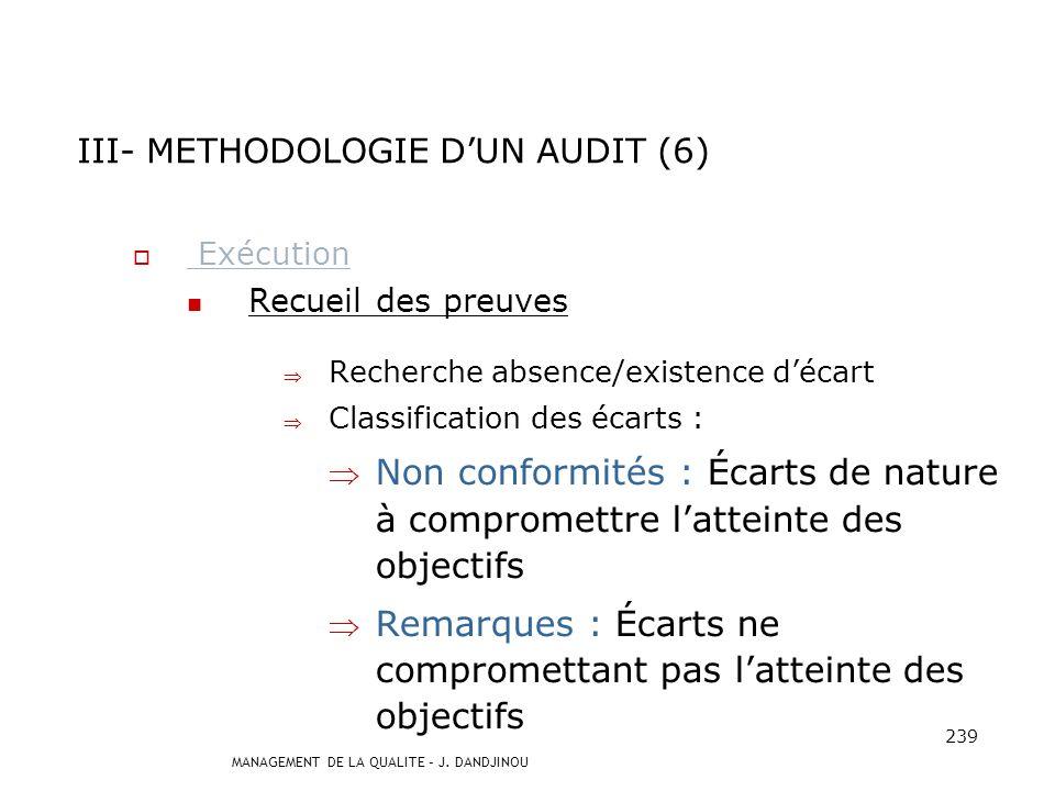 MANAGEMENT DE LA QUALITE – J. DANDJINOU 238 Exécution Réunion douverture Objectifs : Présenter audités et auditeurs Rappeler objectifs, champ et plan