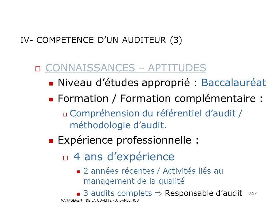 MANAGEMENT DE LA QUALITE – J. DANDJINOU 246 QUALITES PERSONNELLES I = Indépendant M = Méthodique P = Psychologue E= Expérimenté C = Compétent C = Comm